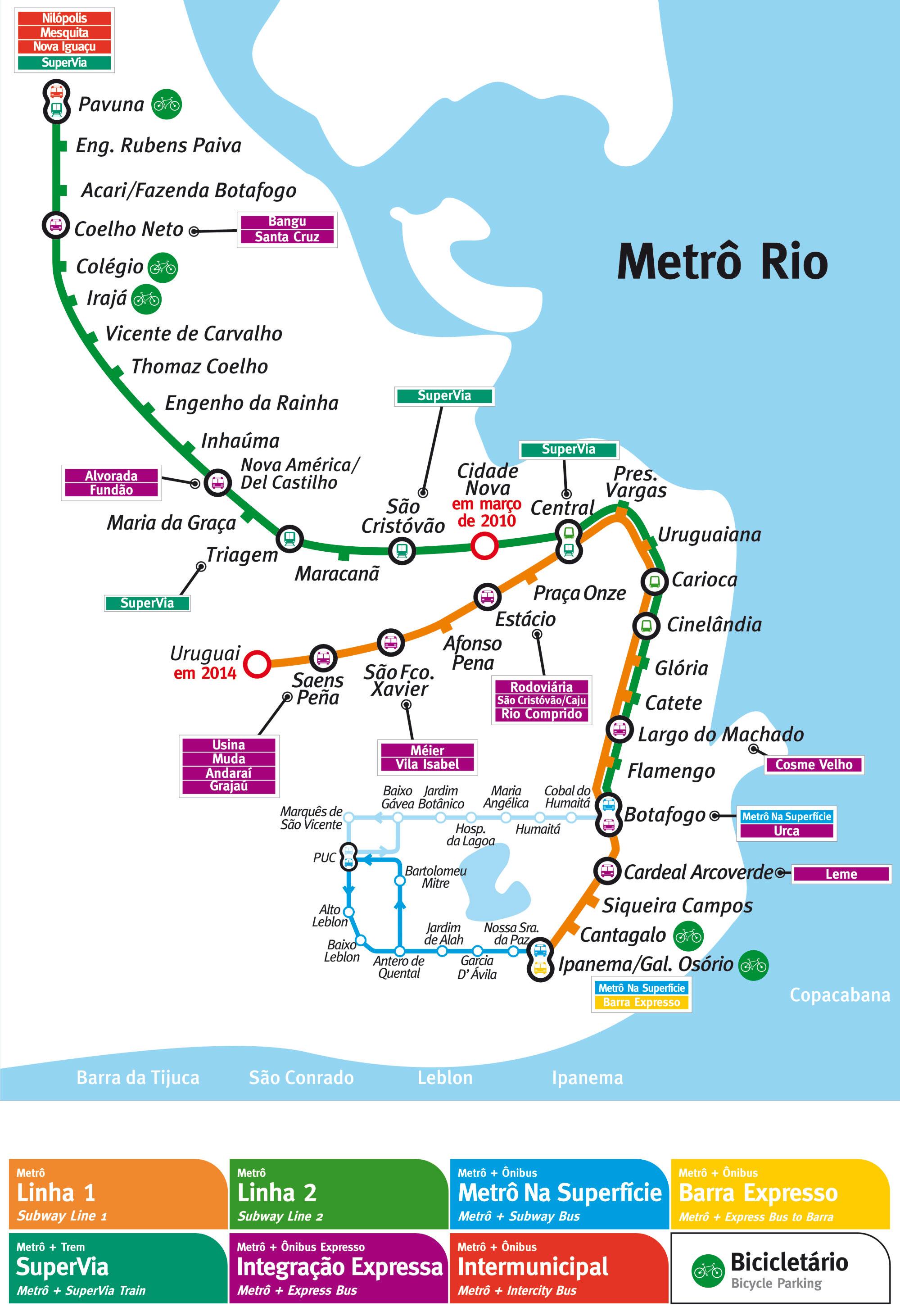 Mapa-do-Metro-do-Rio-Tamanho-Grande O que fazer no Rio de Janeiro (50 Dicas + Roteiro)