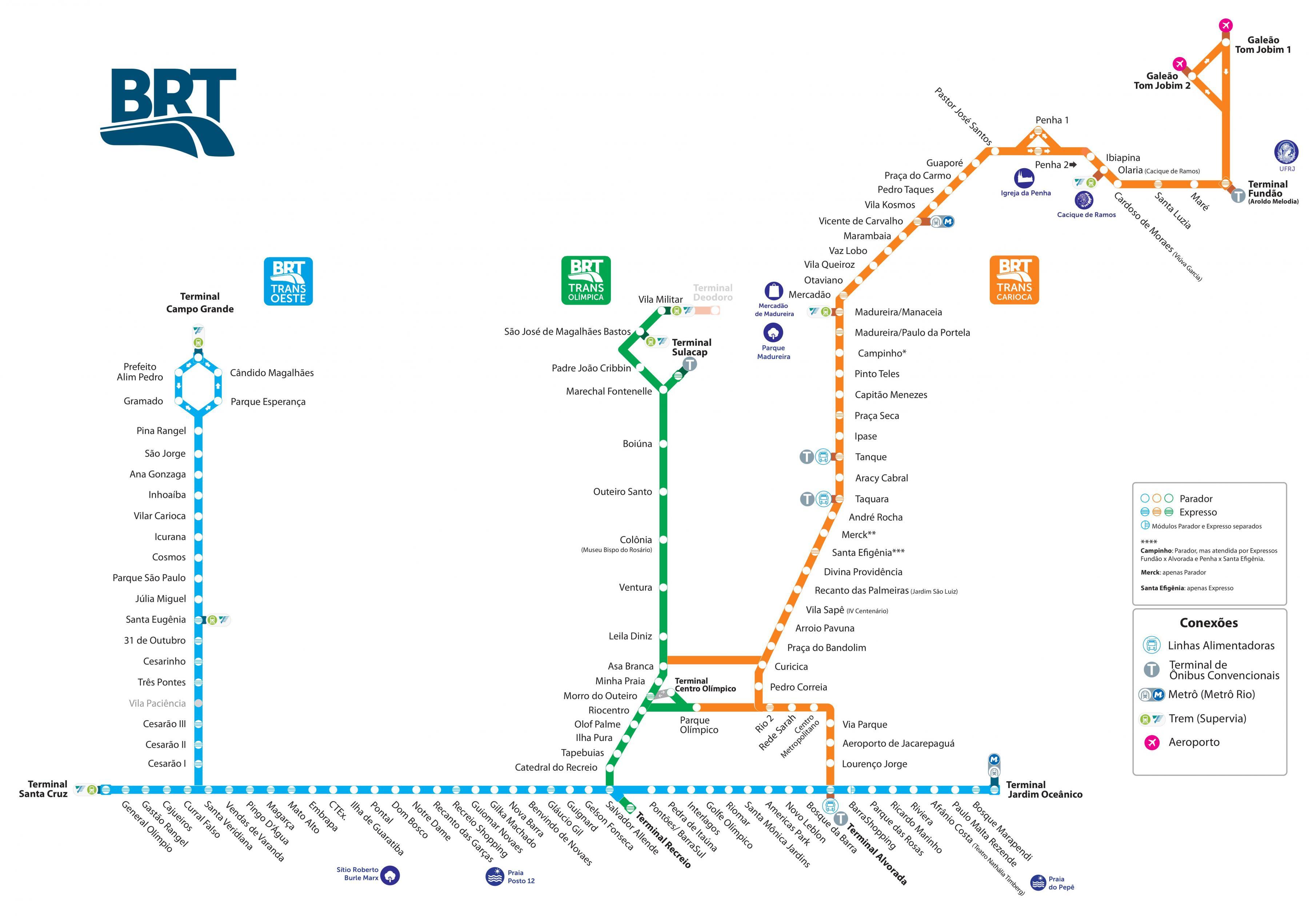 Mapa-BRT-do-Rio-Tamanho-Grande O que fazer no Rio de Janeiro (50 Dicas + Roteiro)